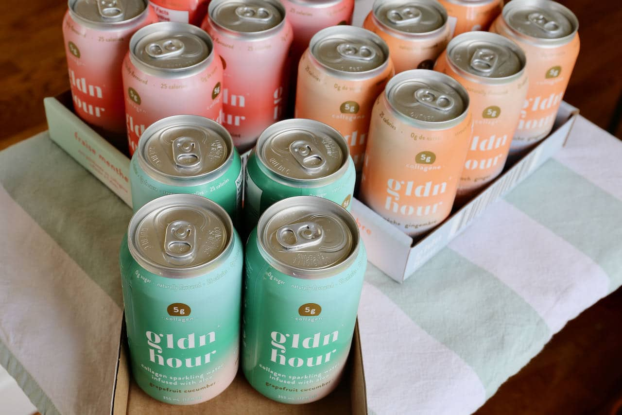 Gldn Hour is a Canadian sparkling collagen water brand featuring 3 flavours.