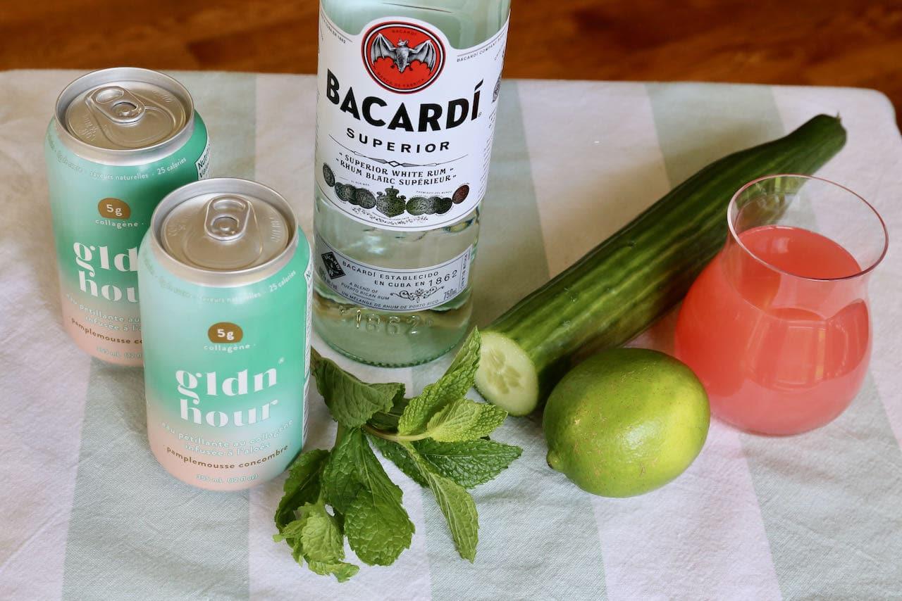 GLDN Hour Rum Mojito Collagen Water Cocktail ingredients.