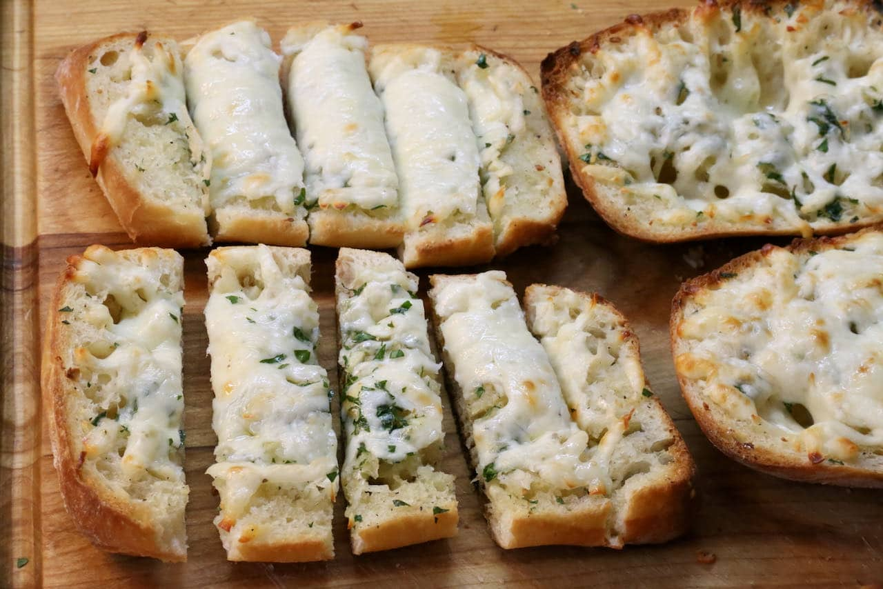 Garlic Bread In Air Fryer: Slice toasts and serve to guests on a plate or platter.