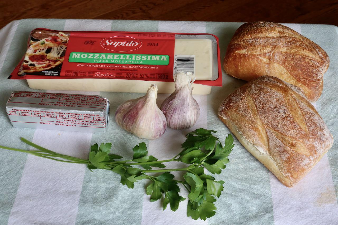 Air Fryer Garlic Bread ingredients.