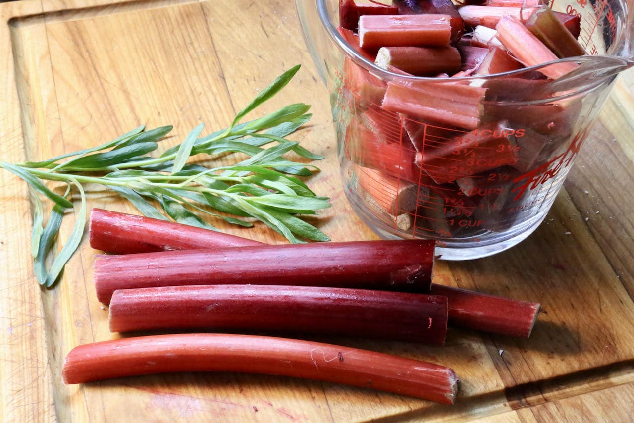 Our Pickled Rhubarb recipe features fresh tarragon and mustard seeds.