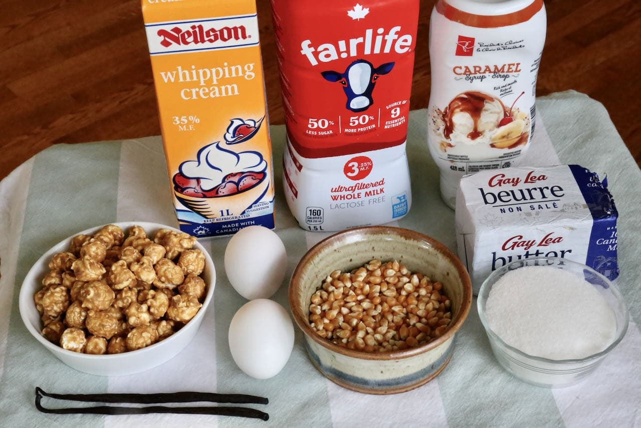 Homemade Popcorn Ice Cream recipe ingredients.