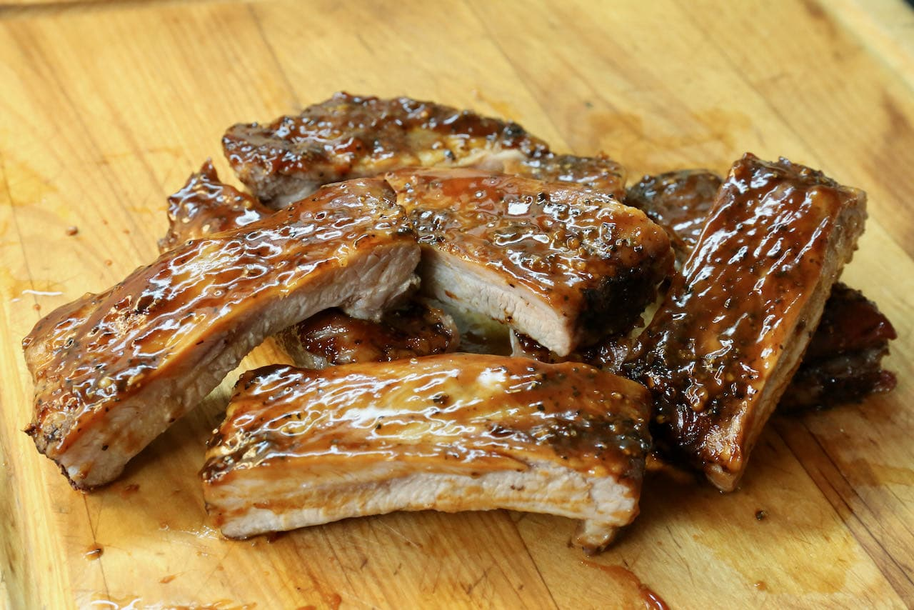 Our smokey Air Fryer Pork Ribs are sticky and sweet!