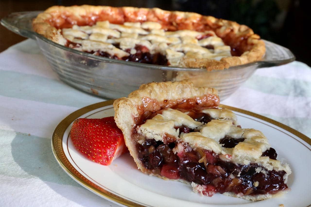 Homemade Flaky Swedish Rhubarb Cherry Pie Recipe