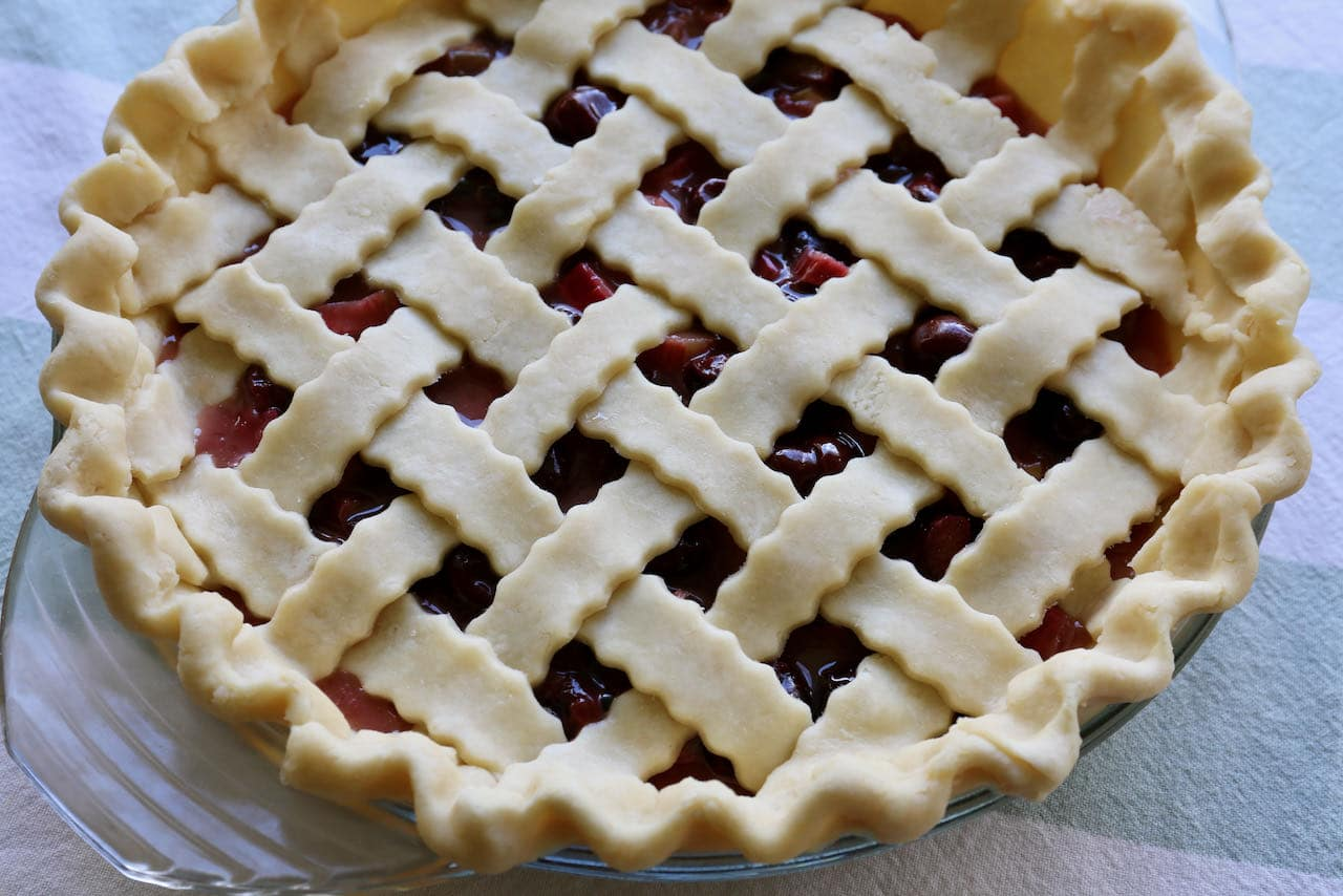 Chill Rhubarb Cherry Pie in the fridge before baking in the oven.