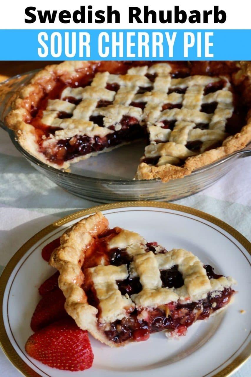 Save our Flaky Swedish Rhubarb Cherry Pie recipe to Pinterest!