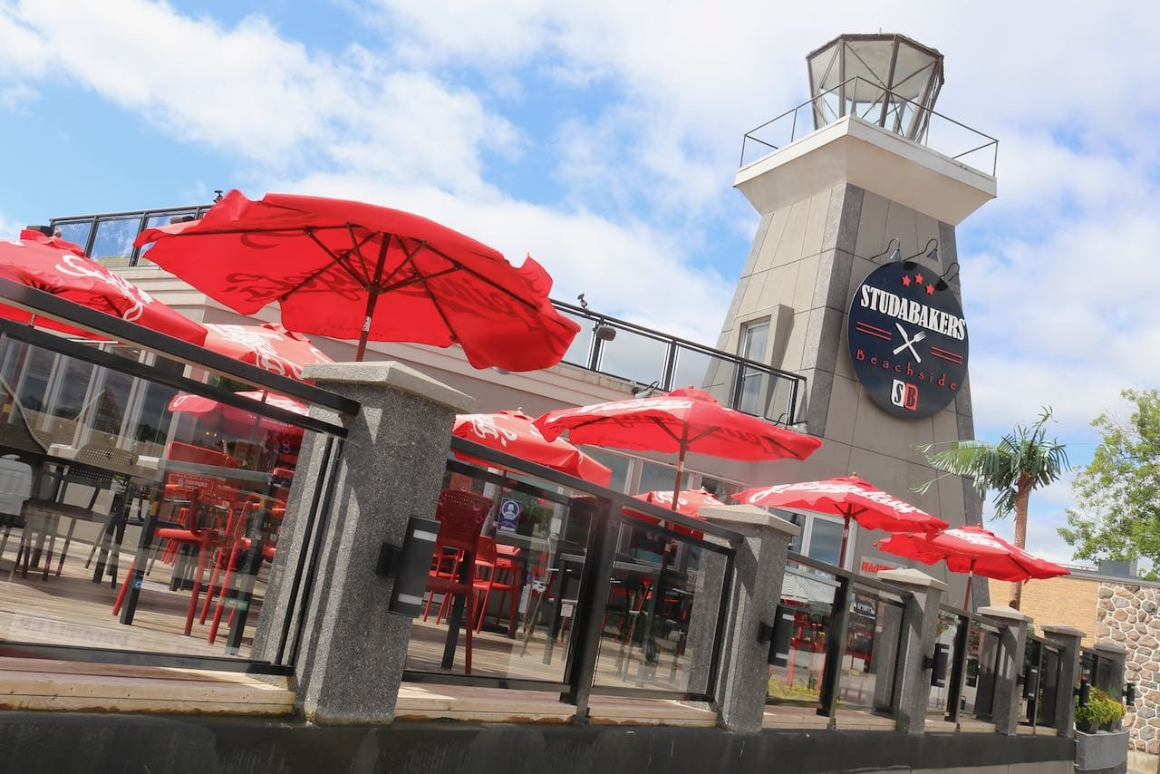 Studabakers Beachside is a short walk from Port of Orillia and it's patio is popular in the summer.