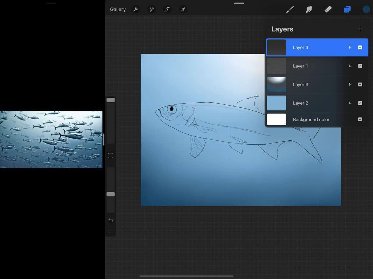 How to Draw A Fish: working in layers is one of the benefits of drawing on Procreate