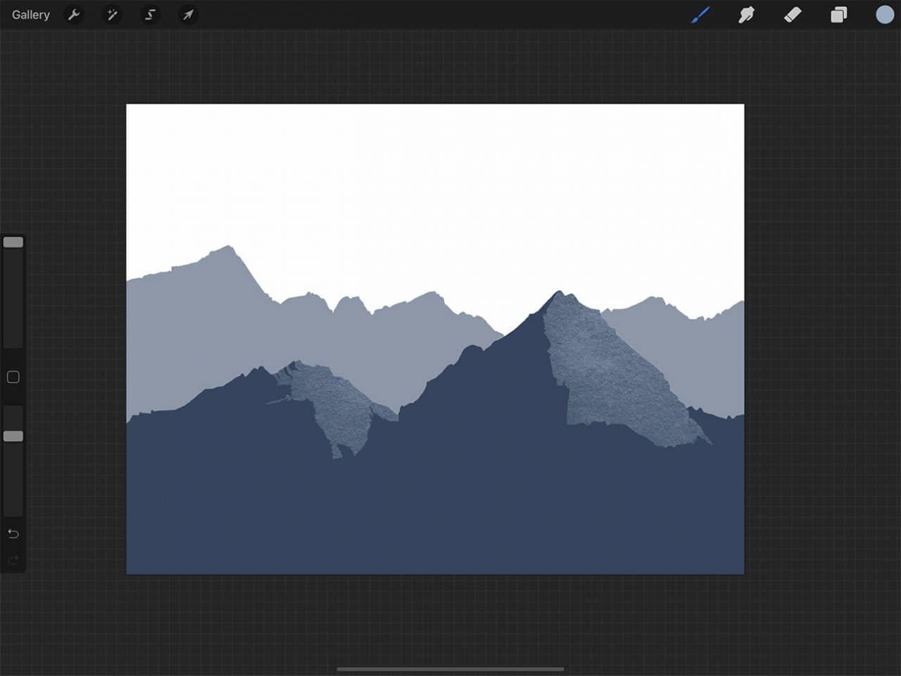 How to Draw Mountains: Drawing with Procreate's lasso tool makes adding details easy