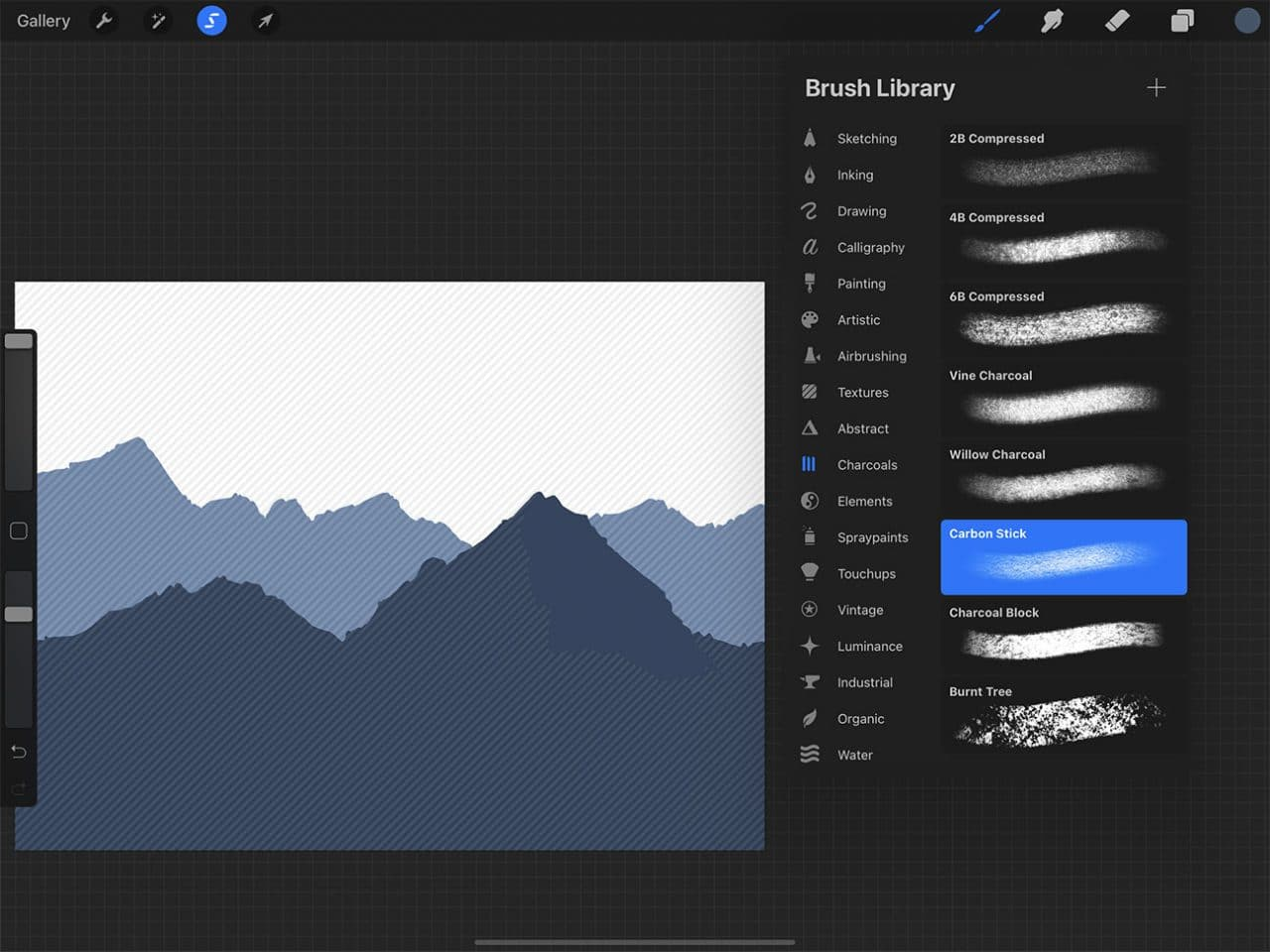 How to Draw Mountains: Procreate has many brush options for creating varied textures