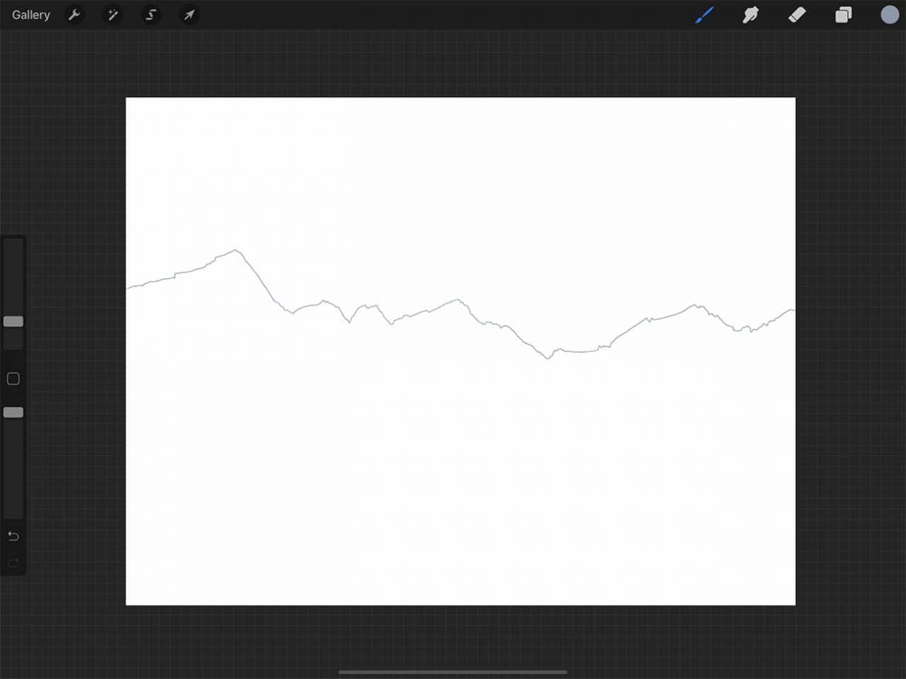 How to Draw Mountains: Procreate offers many brush options for starting your drawing