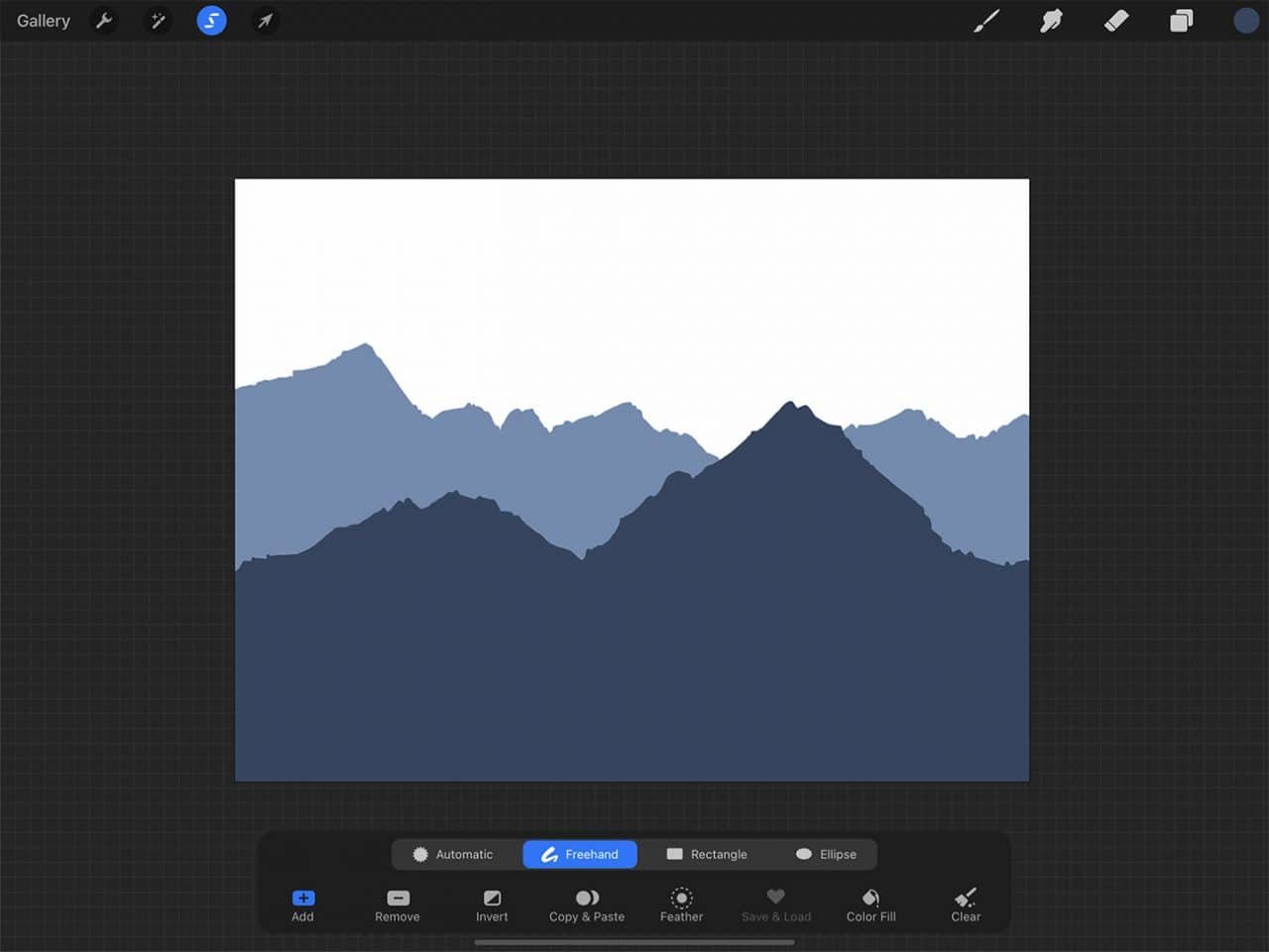 How to Draw Mountains: the lasso tool can be found in the top left menu on your screen