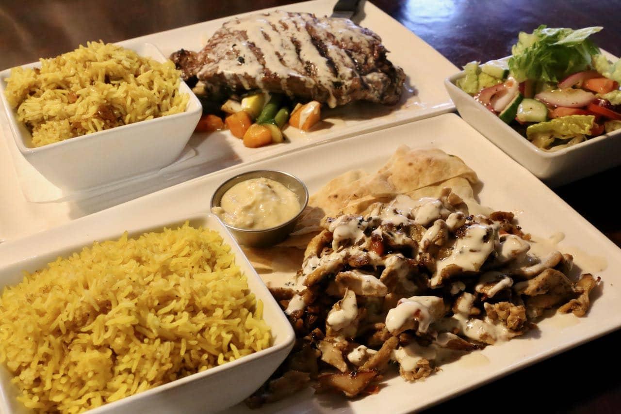 Restaurants in Orillia: Sanafir serves classic Mediterranean dishes.