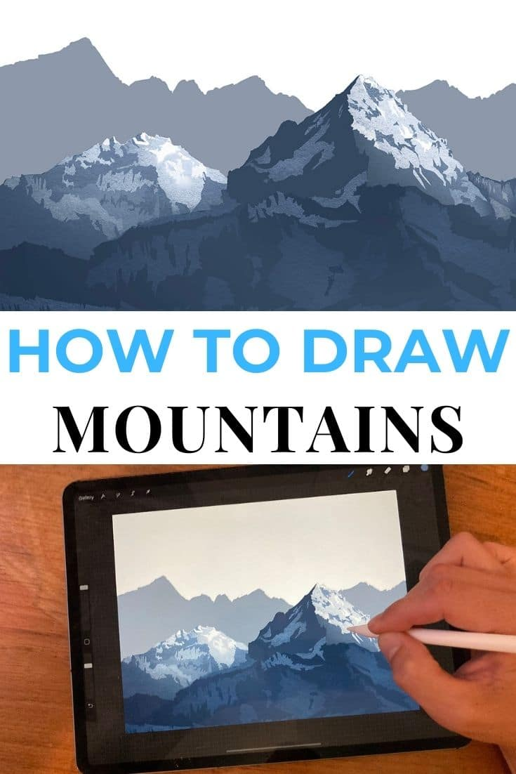 """Save our """"how to draw mountains on iPad Pro"""" tutorial to Pinterest!"""