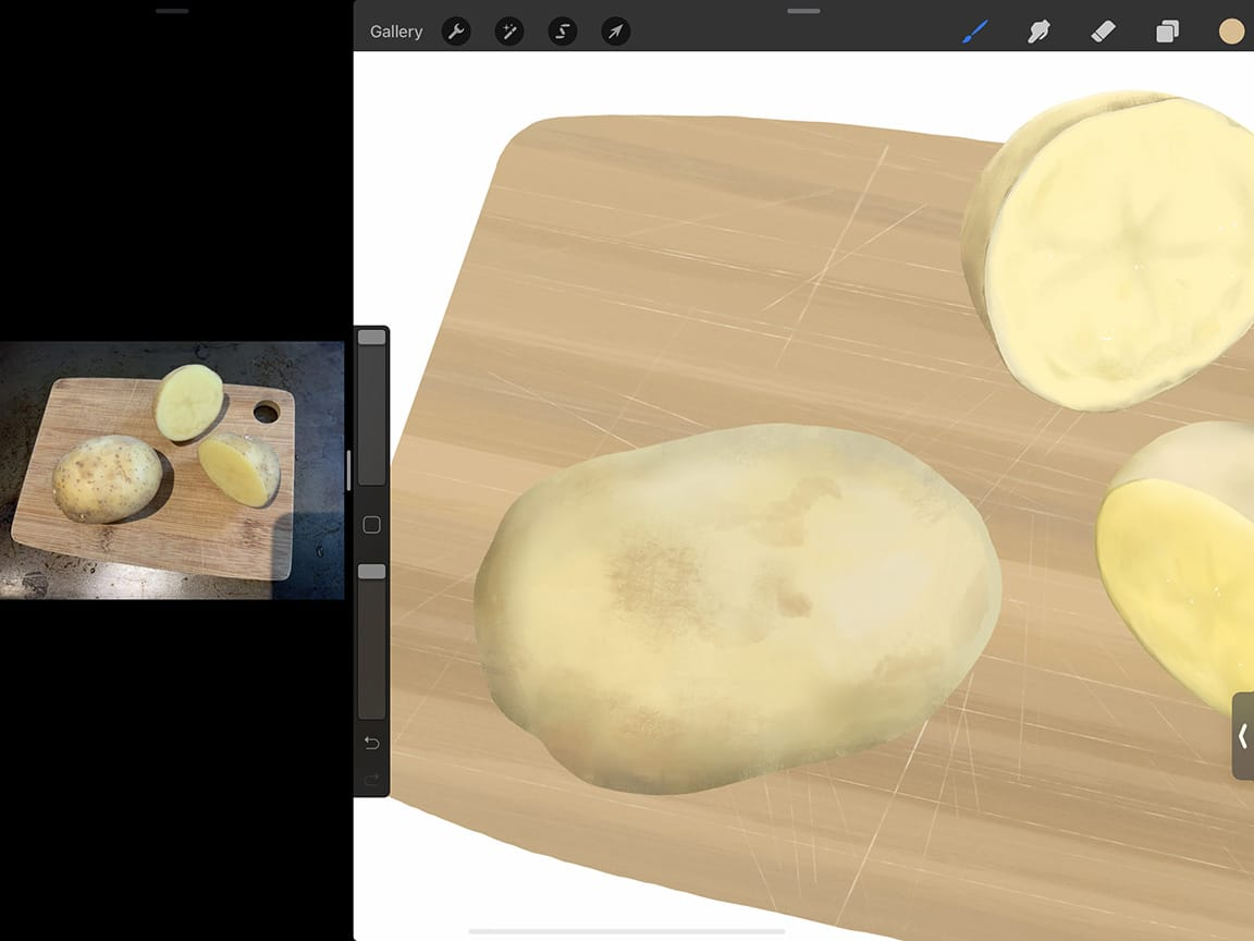 How to Draw Potatoes: Procreate's many brush tips give you lots of options for texture