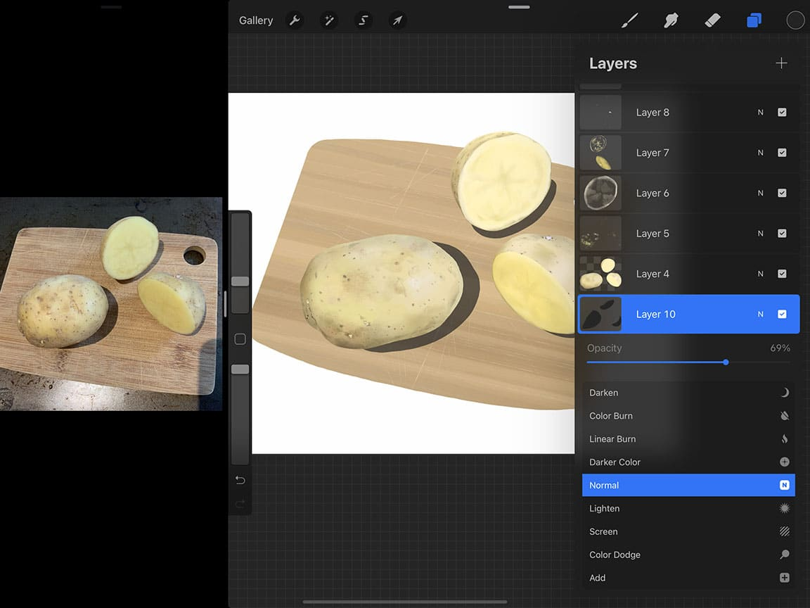 Procreate Tutorial: Adjusting opacity is a useful tool when drawing digitally