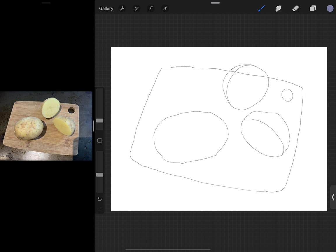 How to Draw Potatoes: A rough sketch can be a great guide for your final coloured illustration