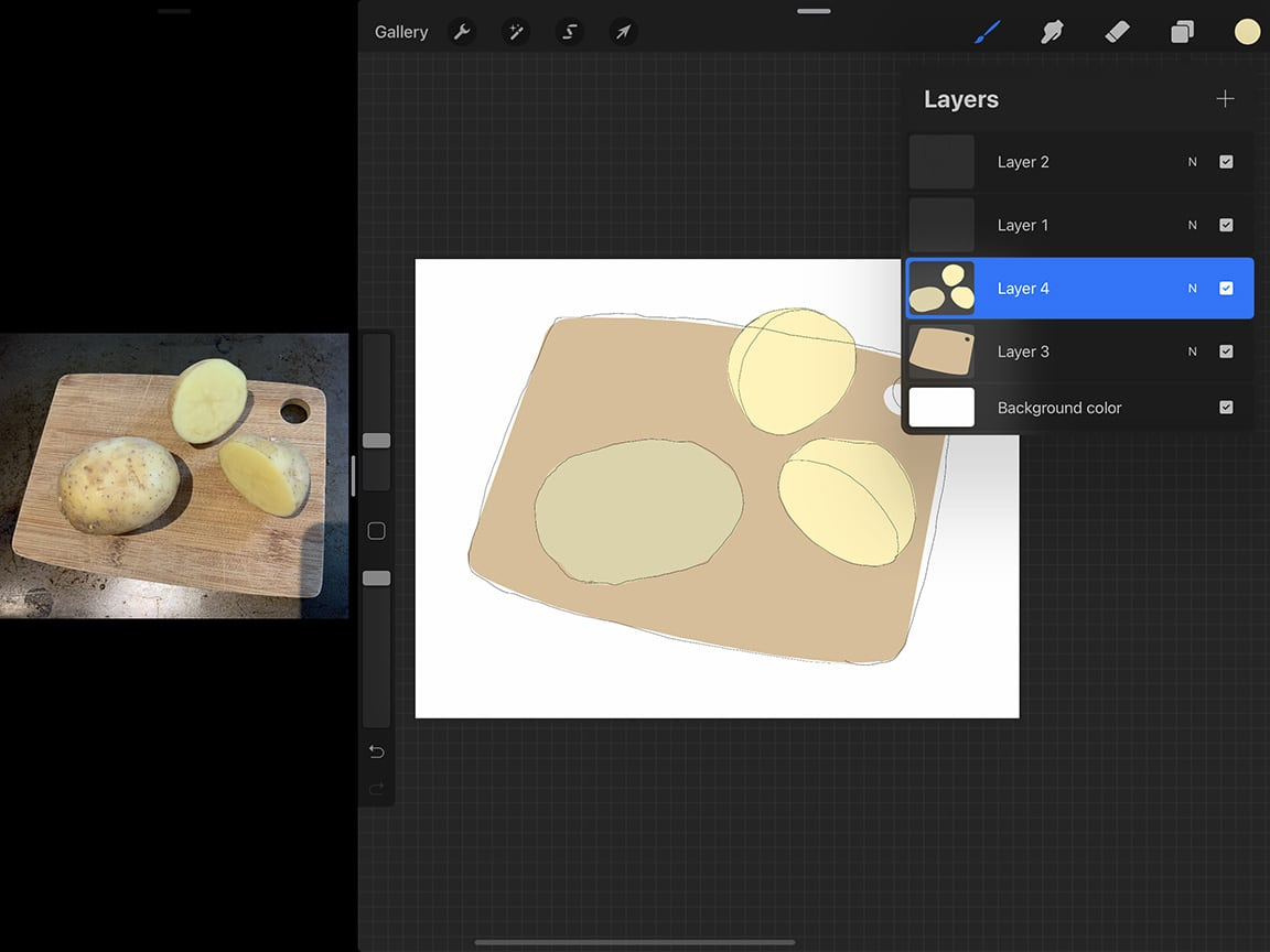 How to Draw Potatoes: Blocking out your shapes is a great way to start your painting