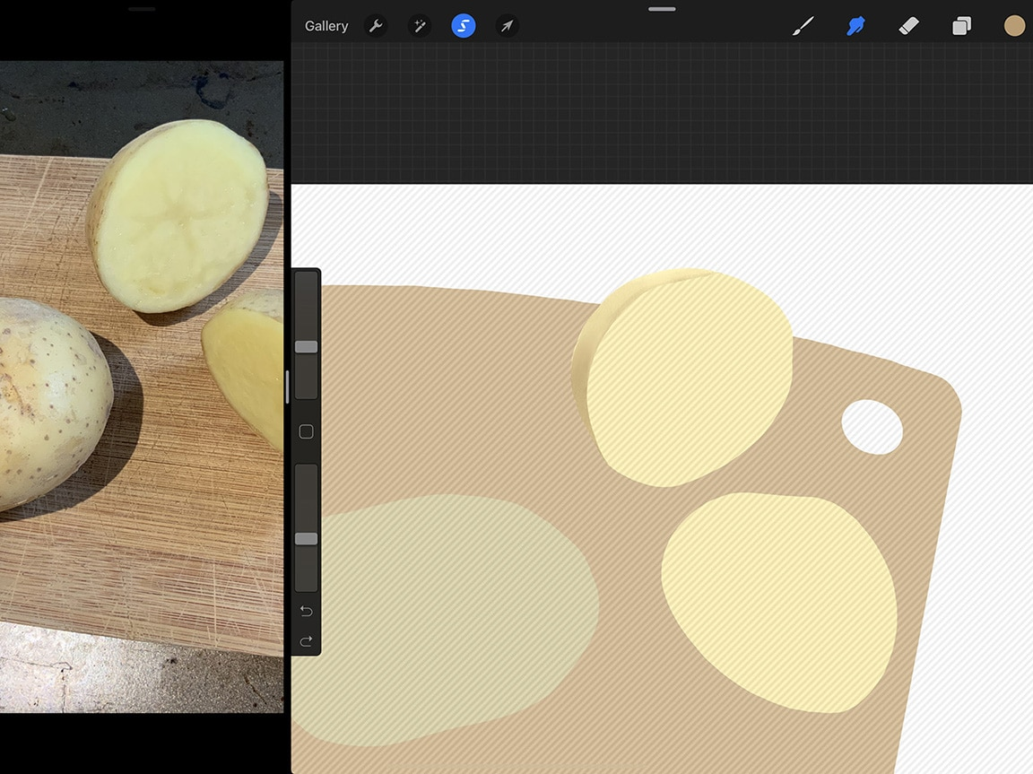 How to Draw Potatoes: Procreate makes isolating portions of your drawing to colour easy