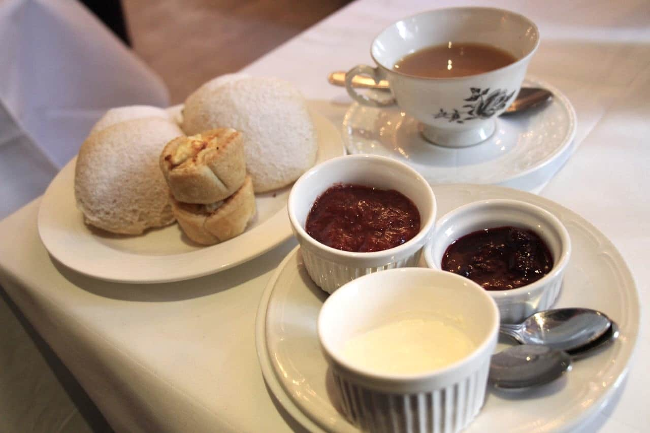 Loose leaf tea, scones, clotted cream and preserves at Windsor Arms High Tea.